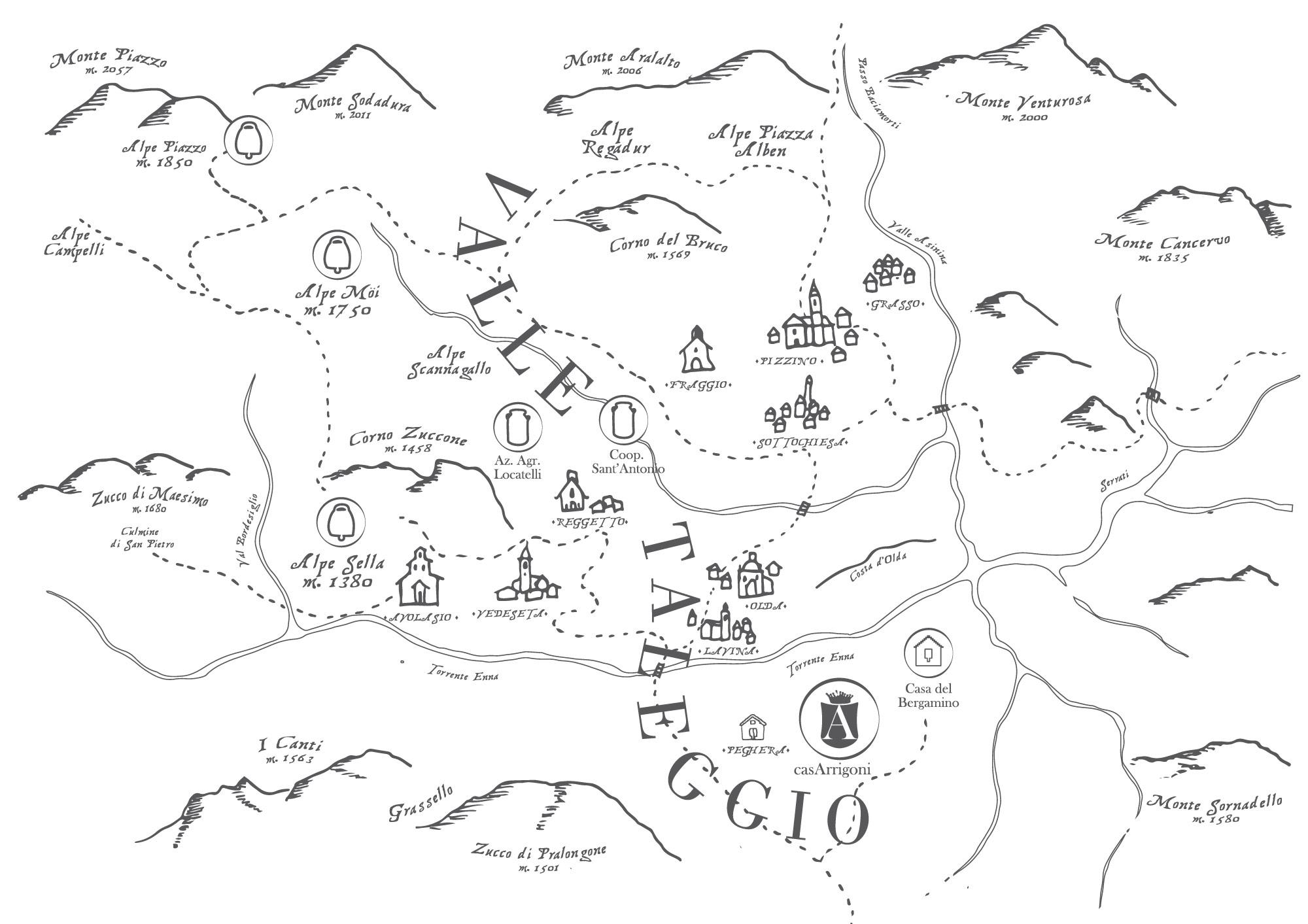 Mappa della Valtaleggio casArrigoni